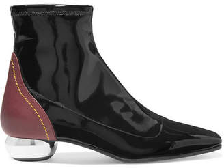 Ellery Smooth And Patent-leather Ankle Boots - Black