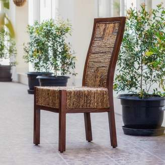 Aba'ca International Caravan Dallas Abaca Weave Dining Chair with Mahogany Hardwood Trim and Frame - Salak Brown