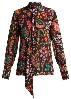 Etro Pussy Bow Silk Blouse - Womens - Black Multi