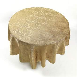 """Carnation Home Fashions Rose Damask"""" 70"""" Round Fabric Tablecloth in Gold"""
