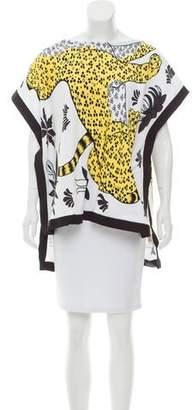 Hermès Leopard Print High-Low Poncho
