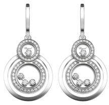 Chopard Happy 8 Diamond& 18K White Gold Drop Earrings