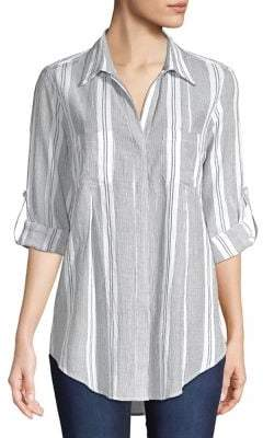 824c469a9ad Lord & Taylor Petite Striped Cotton Button Front Shirt