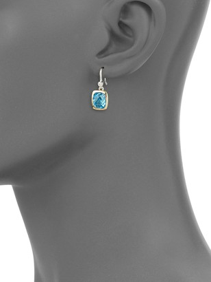 Charles Krypell Sterling Silver, 14K White Gold, Blue Topaz & Diamond Drop Earrings