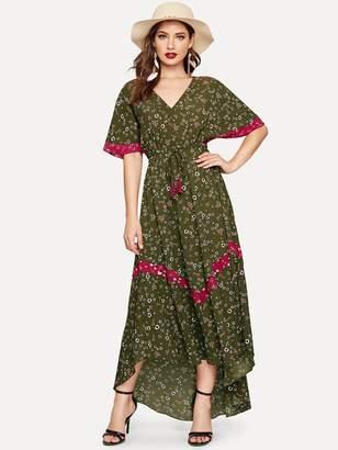 Shein Drawstring Waist Ditsy Floral Dip Hem Dress