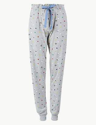 Marks and Spencer Cotton Rich Printed Pyjama Bottoms