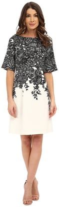 Adrianna Papell - Elbow Length Bell Sleeve A-Line Dress with Lace Print Women's Dress $160 thestylecure.com