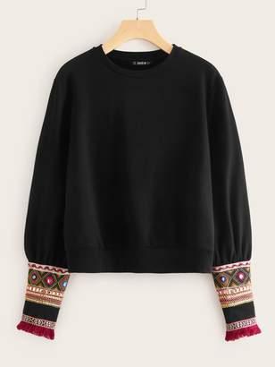 Shein Tassel Trim Embroidered Tape Cuff Sweatshirt