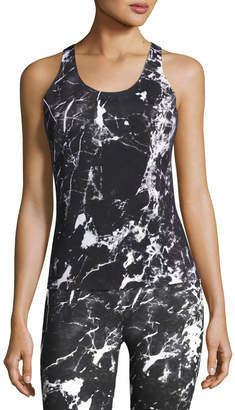 Norma Kamali Reversible Racer Active Tank Top, Black Pattern