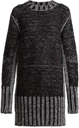 MM6 MAISON MARGIELA Metallic Heavy Knit Sweater Dress - Womens - Black Silver
