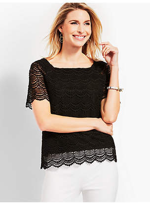 Talbots Lace Square-Neck Top