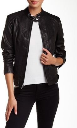 Cole Haan Genuine Leather Racer Jacket $450 thestylecure.com