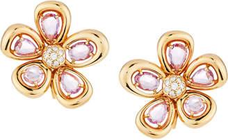 Roberto Coin 18k Rose Gold Sapphire & Diamond Spring Flower Earrings