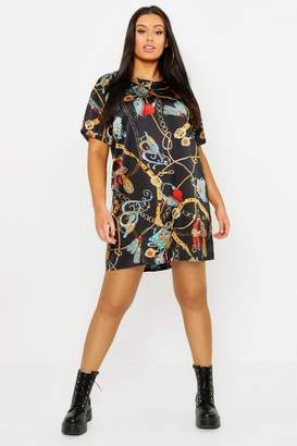 boohoo Plus Satin Chain Print Shift Dress
