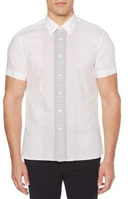 Perry Ellis Short Sleeve Dot Print Woven Shirt