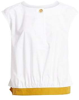 Marni Women's Cotton Poplin Cap Sleeve Blouse