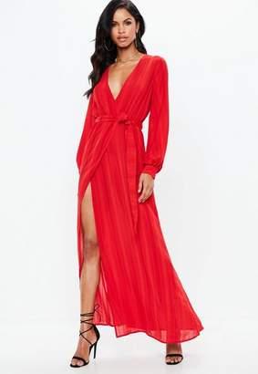 Missguided Red Striped Long Sleeve Tie Waist Split Maxi Dress