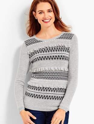 Talbots Ruffle-Front Fair Isle Sweater