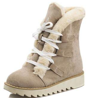 dc1fd32487ae at Amazon Canada · DecoStain Women s Fashion Artificial Plush Flat Heeled  Ankle-High Lace-up Boots