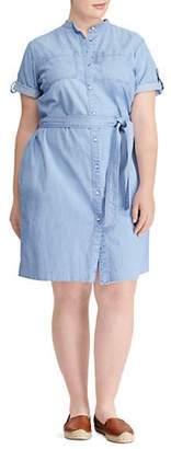 Lauren Ralph Lauren Plus Short-Sleeve Denim Shirtdress