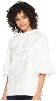Ted Baker Glarina Large Ruffle Sleeve High Neck Top Women's Long Sleeve Pullover