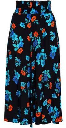 Maje Floral-Print Crepe Midi Skirt