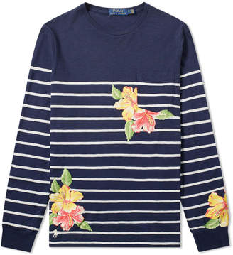 Polo Ralph Lauren Long Sleeve Floral Stripe Print Tee