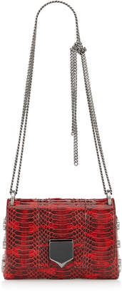 Jimmy Choo LOCKETT MINI Red Glossy Watersnake Shoulder Bag