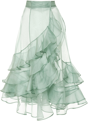 Johanna Ortiz M'O Exclusive Mar Dulce Silk Organza Skirt