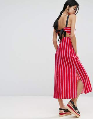 Asos Design Maxi Dress with Grosgrain Straps and Tie Back in Stripe Print