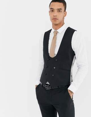 Twisted Tailor super skinny wool mix suit vest in black