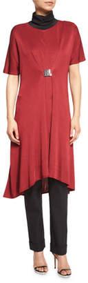 Misook Flowing Short-Sleeve Dress W/Buckle, Red