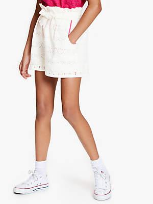 John Lewis & Partners Girls' Broderie Shorts, White