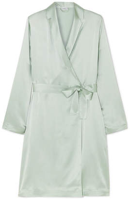 La Perla Belted Silk-satin Robe - Mint