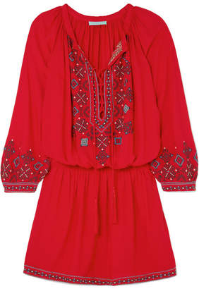 Melissa Odabash Nadja Embroidered Voile Mini Dress - small