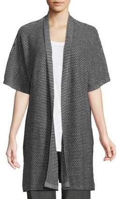Eileen Fisher Short-Sleeve Organic Linen Kimono Cardigan