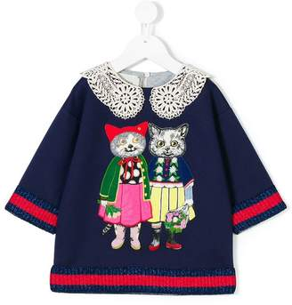 Gucci Kids cats patches blouse