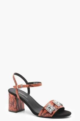 boohoo Snake Print Embellished Mid Heels