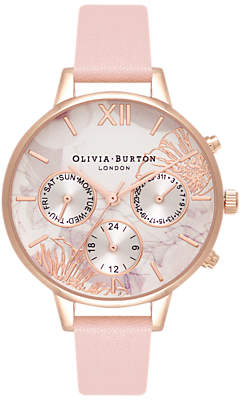 Olivia Burton OB16CGS07 Women's Abstract Florals Chronograph Leather Strap, Dusty Pink/Multi