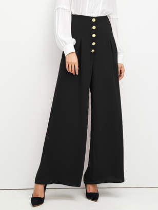 Shein High Waist Buttoned Palazzo Leg Pants