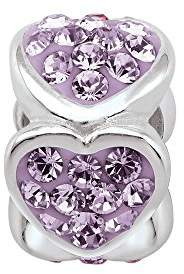 Persona PersonaGirl Sterling Silver Crystal Heart Birthstone Beads