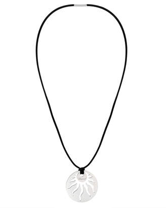 Chopard Sun 18k White Gold and Leather Pendant Necklace