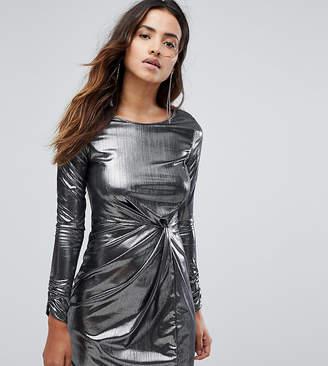 Miss Selfridge Knot Front Foil Mini Dress