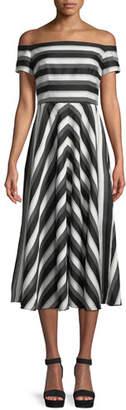 Lela Rose Off-the-Shoulder Striped Fit-and-Flare Dress