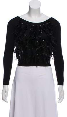 Haute Hippie Feather- Embellished Crop Sweater w/ Tags