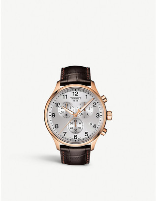 Tissot T1166173603700 Chrono XL Classic rose gold-coated stainless steel and crocodile-embossed leather strap watch