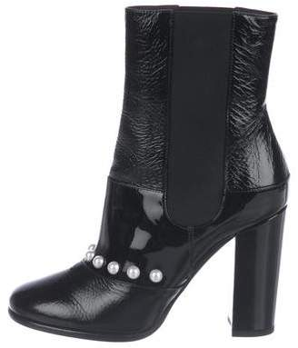 Chanel Faux Pearl Ankle Boots