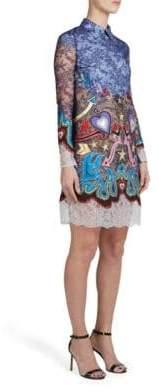 Mary Katrantzou Women's Long Sleeve Embellished Lace Dress - Blue Heart Frames - Size UK 10 (6)