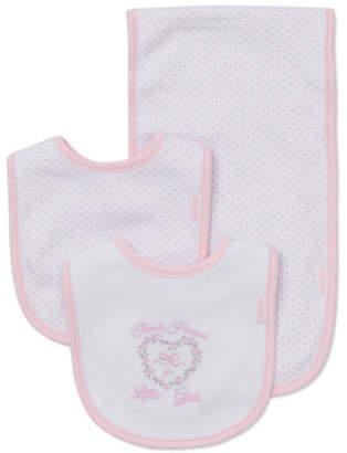 Little Me Three-Piece Pink Bow Bib Set