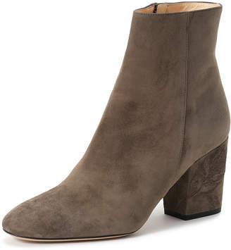 Fabio Rusconi (ファビオ ルスコーニ) - Import Shoes Collection FABIO RUSCONI スエード 刺しゅうヒール ショートブーツ グレー 24